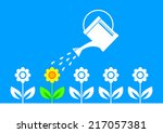 garden icon on blue background   | Shutterstock .eps vector #217057381