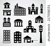 building icon set   simple... | Shutterstock .eps vector #217058251