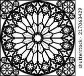 silhouette rose window/ gothic/ vector illustration