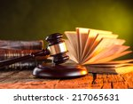 Wooden Gavel And Books On...