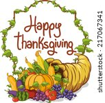 thanksgiving day happy... | Shutterstock .eps vector #217067341