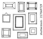 set of hand drawn vector frames.... | Shutterstock .eps vector #217069729