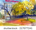 Autumn Cityscape With Theater ...