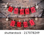 thank you on red tags hanging... | Shutterstock . vector #217078249
