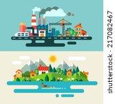 urban and village landscape.... | Shutterstock .eps vector #217082467