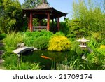 Beautiful Japanese Garden With...