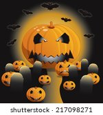 colorful halloween illustration ... | Shutterstock .eps vector #217098271