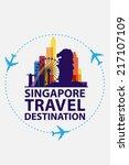 singapore travel vector | Shutterstock .eps vector #217107109