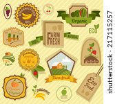 eco farm fresh organic food... | Shutterstock .eps vector #217115257