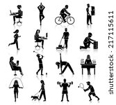 physical activity black icons... | Shutterstock .eps vector #217115611