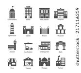 Government Building Icons Blac...