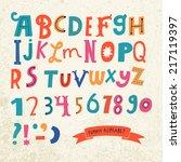 bright alphabet set in vector.... | Shutterstock .eps vector #217119397