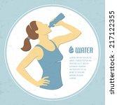 retro illustration with girl... | Shutterstock .eps vector #217122355