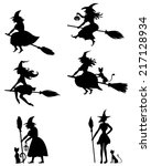 set of silhouette black and... | Shutterstock .eps vector #217128934