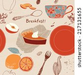 vintage breakfast poster.... | Shutterstock .eps vector #217131655