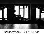 beautiful girl fright fear... | Shutterstock . vector #217138735
