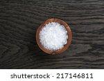 Sea Salt In Wooden Bowl For...