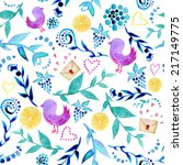 watercolor floral indie... | Shutterstock .eps vector #217149775