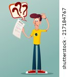 young man get confused seeing... | Shutterstock .eps vector #217184767