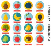 fruits flat icon set. colorful... | Shutterstock .eps vector #217188337