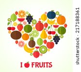 fruits heart in flat style.... | Shutterstock .eps vector #217188361