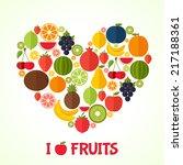 fruits heart in flat style.... | Shutterstock .eps vector #217188361