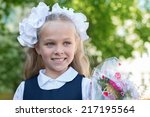 First Grader Girl With Bows In...