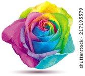 Stock vector futuristic rose colored in the spectrum colors 217195579