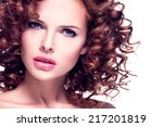 closeup portrait of beautiful... | Shutterstock . vector #217201819