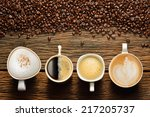variety of cups of coffee and... | Shutterstock . vector #217205737