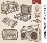engraving style pen pencil... | Shutterstock .eps vector #217216111