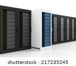 Modern Server Racks isolated on white background - stock photo