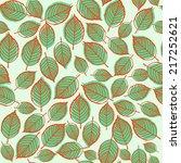 seamless green leaf pattern . | Shutterstock .eps vector #217252621