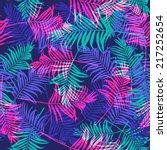 Tropical Palm Leaf Pattern Neon ...