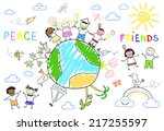 happy friends on earth planet | Shutterstock . vector #217255597