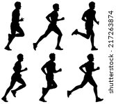 set of silhouettes. runners on... | Shutterstock .eps vector #217263874