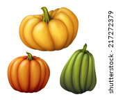 set of assorted shapes pumpkins ... | Shutterstock . vector #217272379