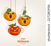 hanging scary pumpkins for... | Shutterstock .eps vector #217281934