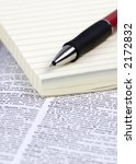 a notepad and pen lay on top of ... | Shutterstock . vector #2172832