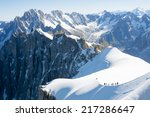 Mont Blanc Mountaneers Walking...