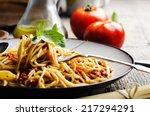 italian spaghetti on rustic... | Shutterstock . vector #217294291