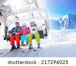 Ski  Skiing   Skiers On Ski Lift
