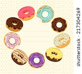 set of a donuts with colorful... | Shutterstock .eps vector #217304269
