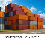 containers stacked in the harbor