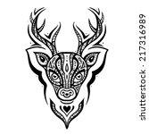 deer head. tribal pattern.... | Shutterstock .eps vector #217316989