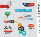 Collection of Sale Discount Styled origami Banners. Vector | Shutterstock vector #217317835