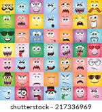 set of cartoon faces with... | Shutterstock .eps vector #217336969