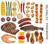 grilled meat  fish and... | Shutterstock . vector #217341781
