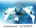 computer networking with globe | Shutterstock . vector #217354879