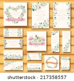 colorful greeting wedding... | Shutterstock .eps vector #217358557